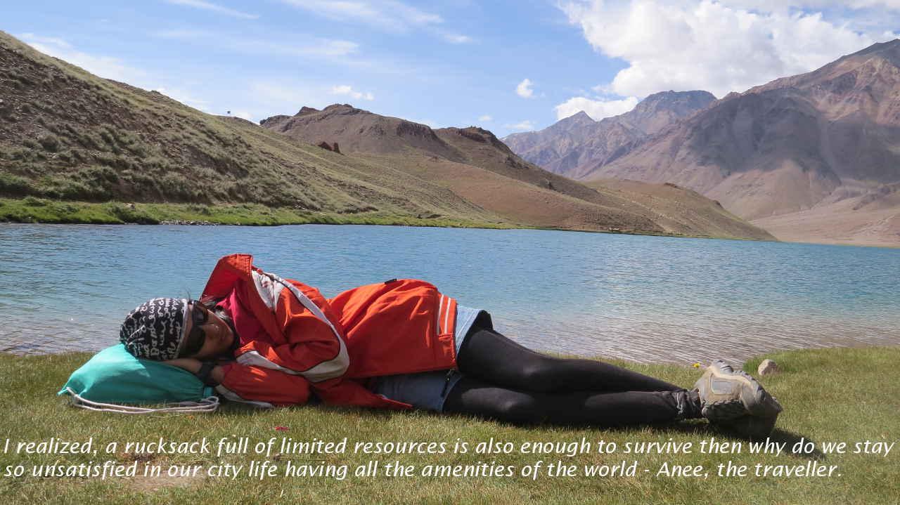 Anee at Chandratal Lake
