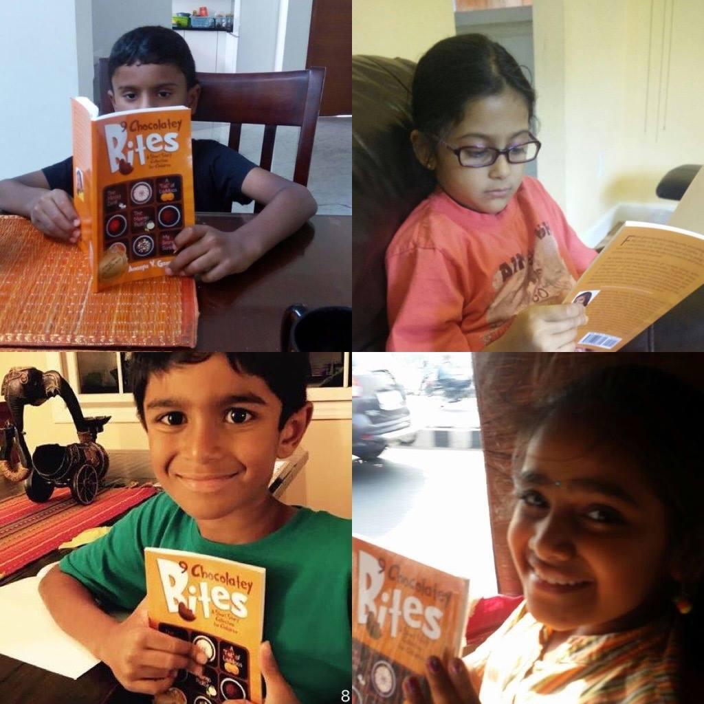 Kids reading Choclatey Bites